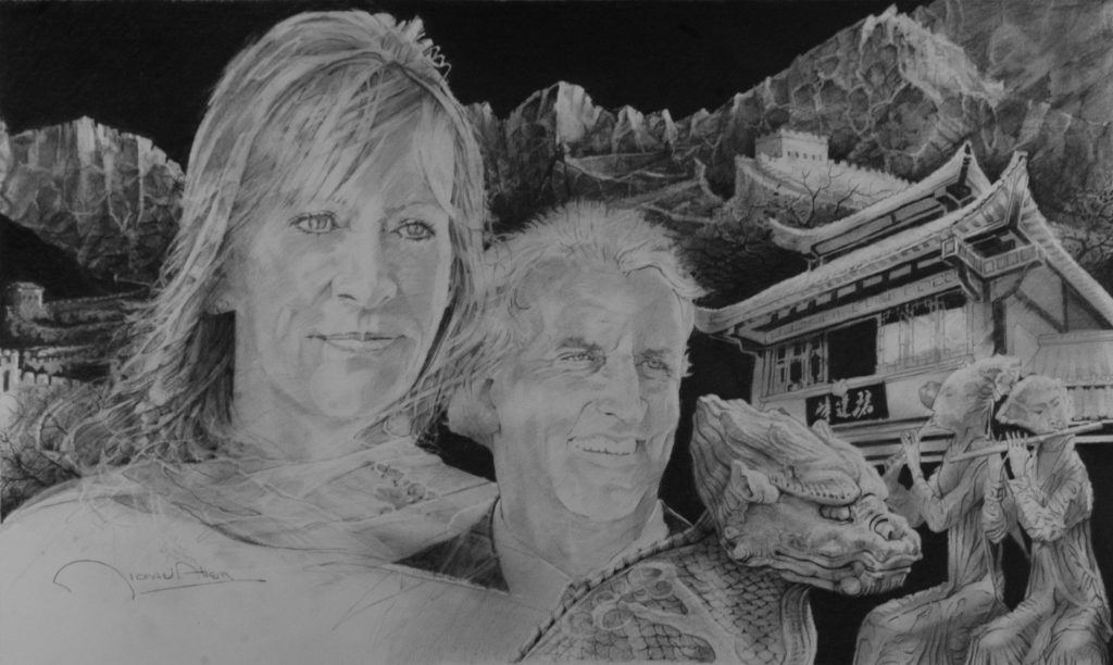 """Chinese Honeymoon"" 32x16 graphite on paper"