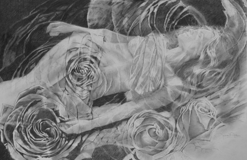 """""""Seven Roses"""" 23x15 graphite on paper"""